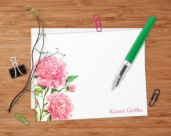 Pink Peonies - Set of 8 CUSTOM Personalized Flat Note Cards/ Stationery