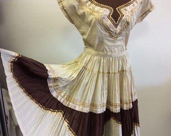 Vintage 1950's patio dress-2 piece/vintage fiesta dress/large size/western 2piece square dance dress