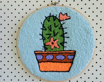 Cactus embroidery hoop wall hanging. Punch needle art. Modern rug hooking. Cacti picture. Plant lady gift. Textile art.