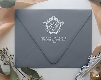 Monogram Crest Return Address Stamp