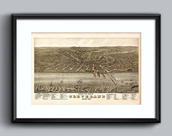 Cleveland Art Print - 1877 Bird's Eye View - 17x11