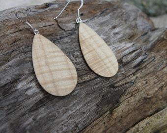 Lightweight Earrings Teardrop Silver, Wooden jewelry dangle earrings, Sterling silver hook earrings, Natural wood Boho earrings-Nature lover