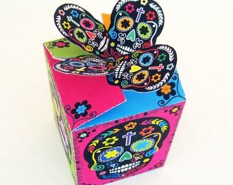 Día de los Muertos - gift or treat box - Day of the Dead - Printable PDF, Instant Download
