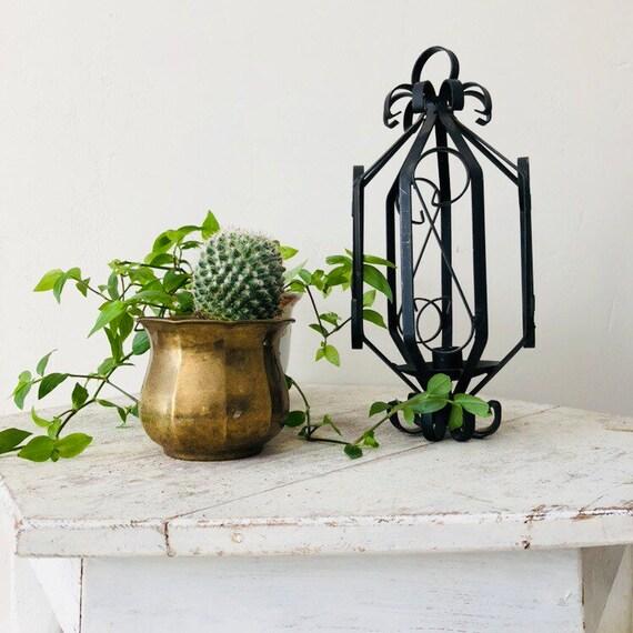 Vintage Black Candleholder Ornate Spanish Style Black Wrought Iron Candle Lantern Boho Decor