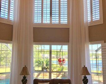 Pleated Linen drapes, semi sheer,  white linen curtains, extra long,two story drapes, French pleats, white, off white, oatmeal, all colors