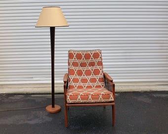 Teak Floor Lamp With Black Inset V Danish Modern Design Medium Warm Finish  Tall Mid Century