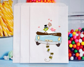 Just Married Favor Bags, Just Married Popcorn Bags, Wedding Candy Bar, Just Married Car
