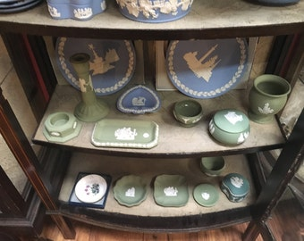 Wedgwood Blue and Green Jasperware items all stamped to base