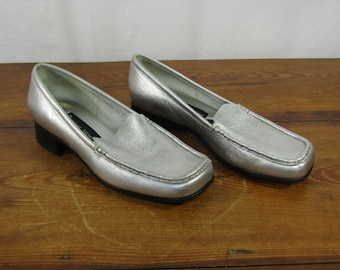 Etienne Aigner metallic silver leather loafers Size 7 1/2