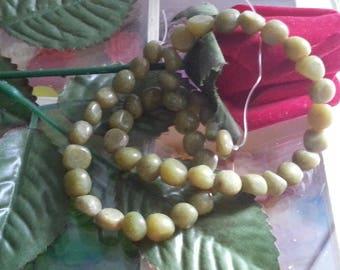 strand of 45 beads natural genuine 6 mm diameter peridot stone, hole 1 mm
