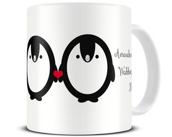 Wedding Shower Gift - Personalised Penguin Couple Mug  - Engagement Mug - Engagement Gift - Bridal Shower Gift - Coffee Mug MG 567