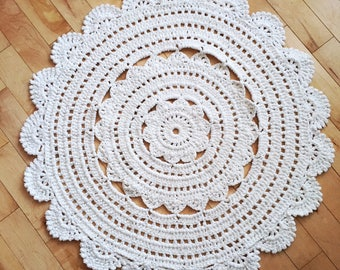 Boho Crochet Doily Rug // Modern Round Crochet Rug // Nursery Decor for baby girl baby boy