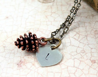 Copper Pinecone Necklace with Initial Heart Pendant for Fall Wedding