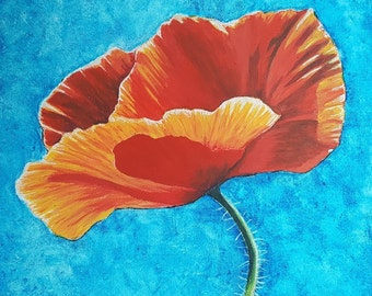 Red Poppy Original Acrylic Painting