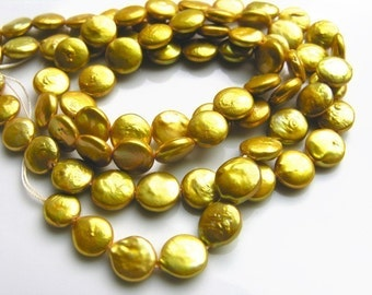 Neon Yellow Fine Coin Pearls  6 Beads