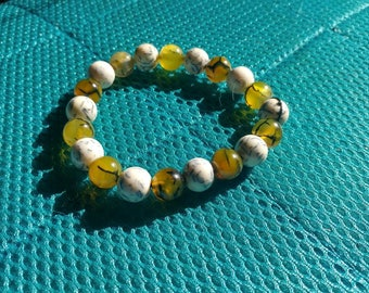 Dragon veins agate beads mixed with  normal beads bracelet