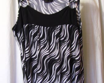 Summer knit Top, Black White, Sleeveless, Jungle Print, Zebra, Resort Cruise, Summer Wear, Size L/XL Brittany Black