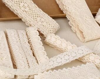 30 yard Diy Handmade Patchwork Cotton Material Cotton Lace Ribbon Beige White Color Cotton Lace Trim