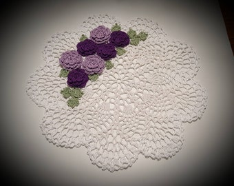 New!! Purple Crochet Cottage Shabby Chic Roses Doily