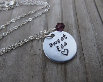 "Sweet Pea Necklace- Hand-Stamped ""sweet pea"" with a stamped heart and an accent bead in your choice of colors- Hand-Stamped Jewelry"