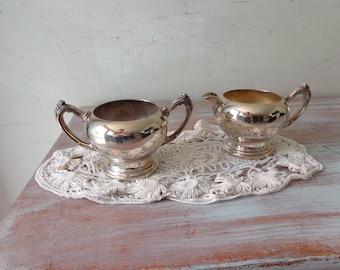 Vintage Silverplated Creamer and Sugar Bowl - Oneida