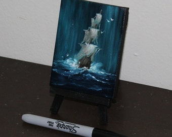"Original Mini Painting - (3x4"") Boat Ship Oil Painting on Easel"