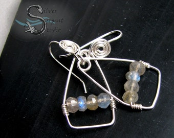 Suspended Labradorite Earrings - sterling silver, wire wrapped, simple, spirals, handmade, beaded, blue flashes, medium dangles