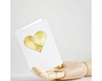 Small Gold Heart Card   Heart Card   Gold Foil Heart   Card for Lover   Card for Mother    Wedding Engagement Valentine   Card under 5