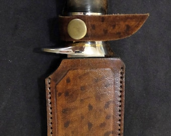 Bowie Hunting Knife Custom made D2 Blade Burl Handle with a Matching Sheath by Blade Art by Renwa