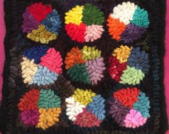 "7""x7"" hand hooked wool rug"