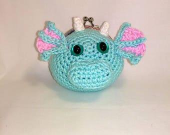 Crochet Dragon Coin Purse, Ready To Ship