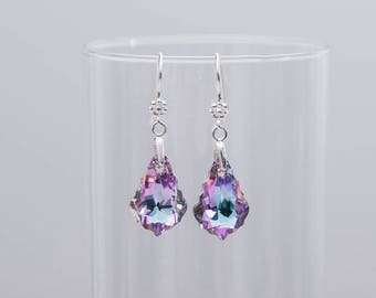 Sterling Silver Swarovski Crystal Drop Earrings ~ Purple Crystal Earrings ~ Crystal Dangle Drop Earrings ~ Swarovski Baroque Drop Earrings