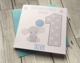 Nephew etsy personalised cute elephant 1st first birthday greeting card grandson nephew son godson bookmarktalkfo Images