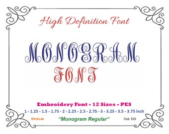 Embroidery font monogram