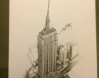 New York Empire State Building Drawing (Print)