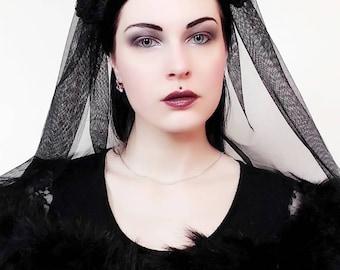 Gothic headpiece/gothic kokoshnik/gothic lolita/fantasy/gothic/wgt/flwitchy headpiece/tudor crown/cloth crown/crown/royal goth/victorian
