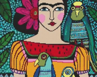Modern cross stitch kit by Heather Galler 'Frida Kahlo and Parrots' - Counted CrossStitch