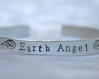 Earth Angel - Sterling Silver Cuff Bracelet - Angel Wings - Personalized