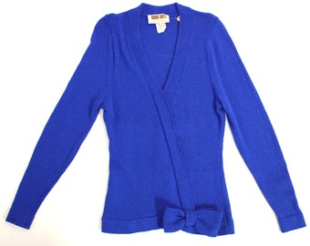 Vintage Women's Clothing • 1980's Marni Knits • Royal Blue Wool Sweater • Bow  Detailing •