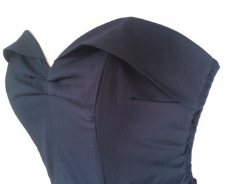 Classic 1950s style, black suntop. Lightly boned, ruched back.