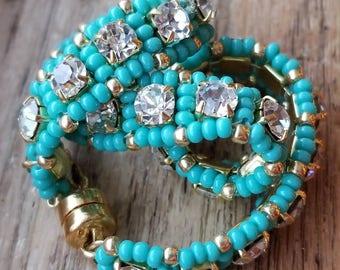 SALE.. Swarovski Bracelet. Tennis Bracelet. Cup Chain Bracelet. Beaded Bracelet. Turquoise Bracelet.  Beadwork Bracelet.