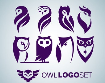 Instant Download Owl Logo Icon Mark set 1