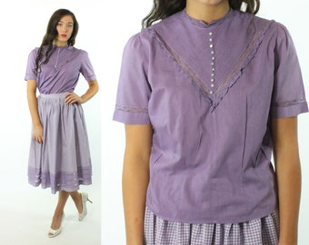 50s Short Sleeve Blouse Button Up Top Lavender Cotton Shirt Vintage 1950s Medium M Pinup Rockabilly Tailor Maid