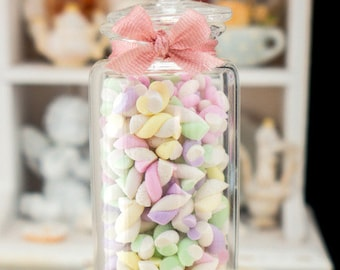 MTO-Large Jar of Guimauve - French Marshmallow Twists in Pink, Lilac, Vanilla, Green - Miniature Dollhouse Food