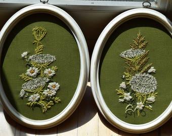 Floral Hand Embroidered Framed Set