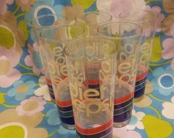5 vintage Diet Pepsi Tom Collins Glasses