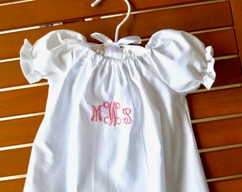 Personalized Baptism Christening Dedication dress with lace hem and princess sleeves.
