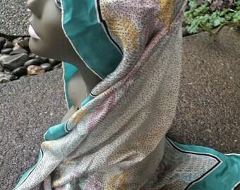 Polka dot flower square scarf/vintage scarf/polka dot scarf/floral scarf/vintage bandanna/floral neck scarf/polka dot neck scarf