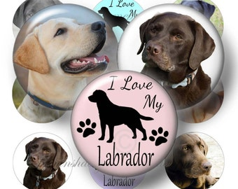 "Labrador, Dog, Digital Collage Sheet, 1 Inch Circles, Bottle Cap Images, 1"" Round Images, Instant Download, Printable Digital Download"