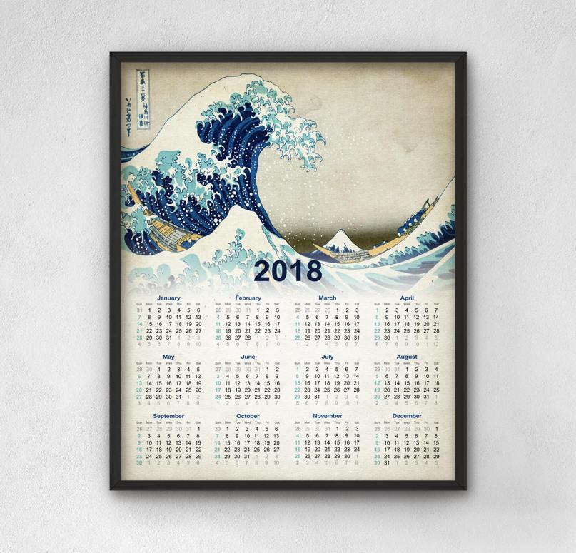 Great Wave Off Kanagawa 2018 Calendar Japanese Wall Art